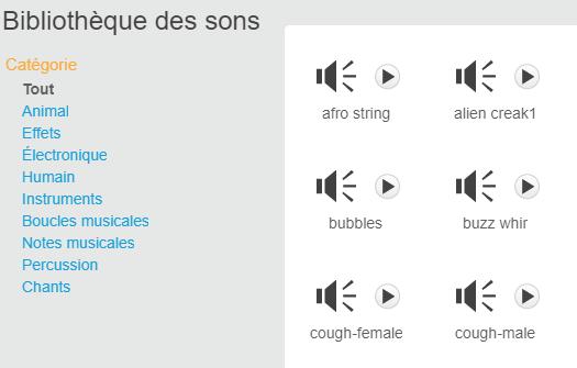 Bibliothèque de sons de Scratch